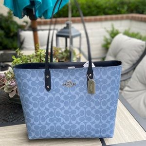 COACH SIGNATURE BLUE CANVAS TOTE BRAND NEW